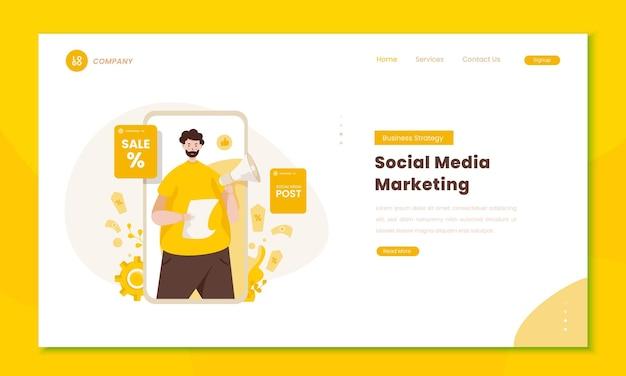 Бизнес-стратегия с маркетингом в социальных сетях на концепции целевой страницы