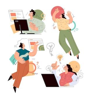 인터넷 온라인 웹 비즈니스 활동을하는 비즈니스 학생 문자 사람들
