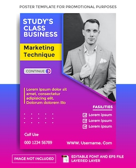 Business study class theme poster template
