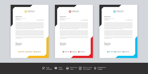 Business style letter head templates for your project design