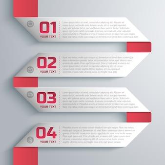 Шаблон ленты в деловом стиле с текстовым и числовым полями, шаг за шагом