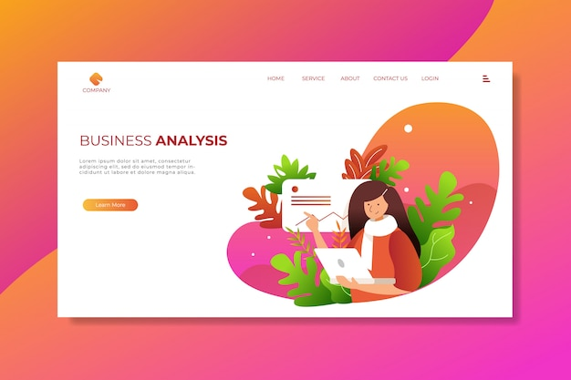 Business stylish woman checking data with tropical leaves landing page