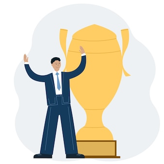 Business success achievement concept. a man celebrates a victory against the backdrop of a large winner cup. vector illustration
