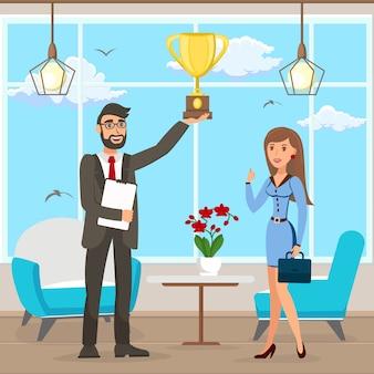 Business success achievement vector illustration