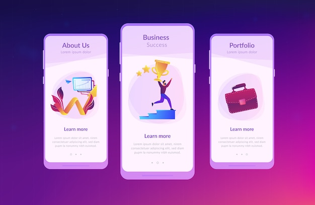 Business success app interface template