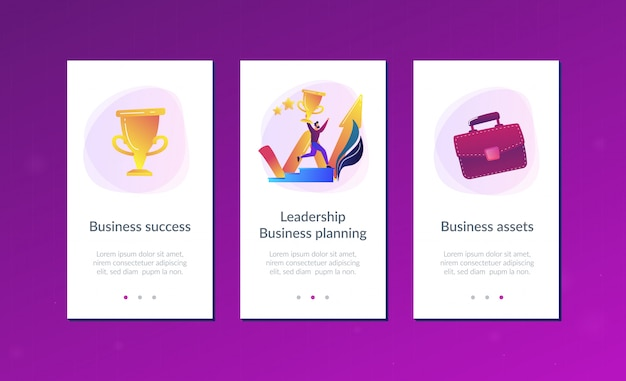 Business success app interface template