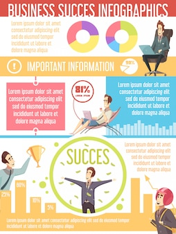 Business success cartoon infographic poster