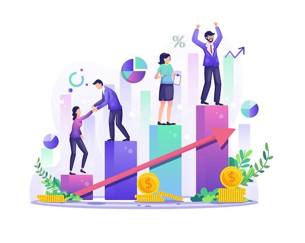 Концепция успеха в бизнесе деловые люди поднимаются по гистограмме столбец за столбцом для иллюстрации своего успеха
