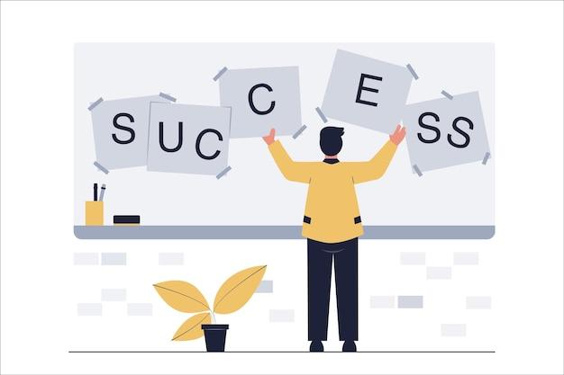 ビジネスサクセスコンセプト。ビジネスマンは成功の言葉遣いを並べ替えます