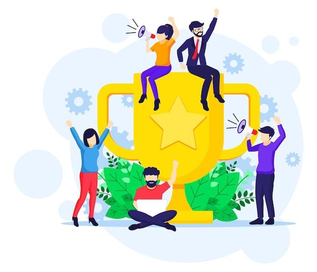 비즈니스 성공 개념, 공동 작업은 거대한 황금 트로피 근처에서 성공을 축하합니다.