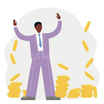Business success concept. happy man in suit around a lot of gold coins