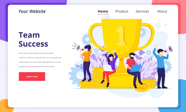 Business success concept illustration, successful teamwork near a giant golden trophy for website landing page