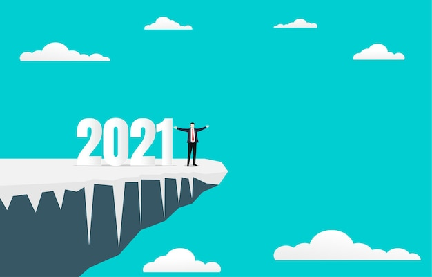 Business success concept in the new year 2021.