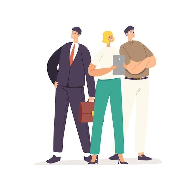ビジネスサクセスコンセプト。成功したマネージャーやビジネスマンのキャラクターを身に着けているオフィスウェアスタンドと腕を腰に当てて、喜んでください。企業のリーダーシップ、チームワークの概念。漫画のベクトル図
