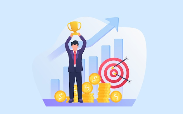 Business success concept with businessman lifting trophy with target goals and money as background