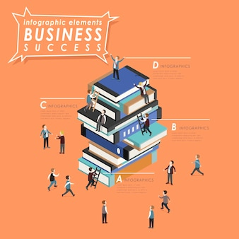 Business success concept with people climbing up to books in 3d isometric flat style