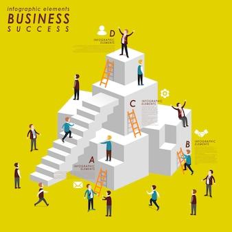3d 아이소메트릭 플랫 스타일로 계단을 오르는 사람들과 함께하는 비즈니스 성공 개념