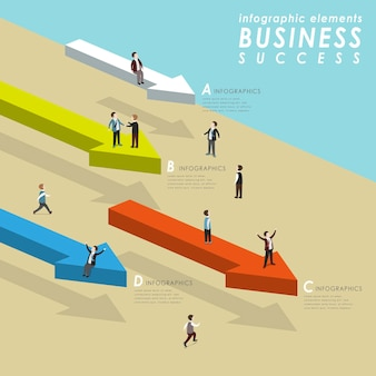 Business success concept with people standing on arrows and go ahead in 3d isometric flat style