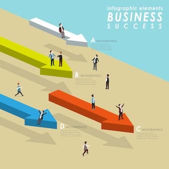 矢印の上に立って、3dアイソメトリックフラットスタイルで進む人々とのビジネス成功の概念