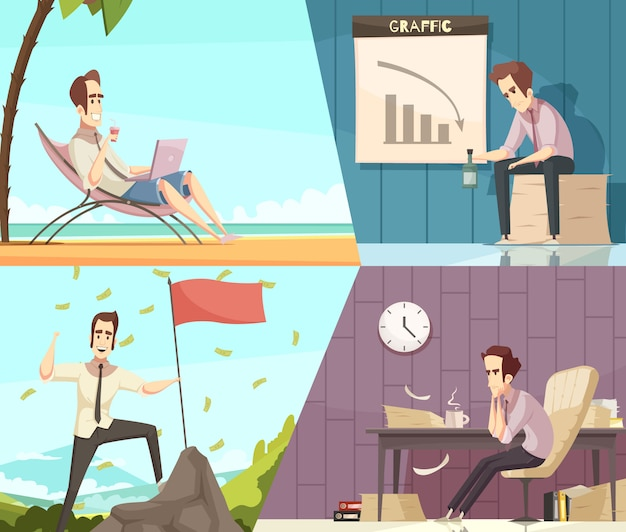 Business success and failure concept 2 retro cartoon banners with money rain and frustration isolated