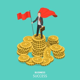 Business success flat isometric vector concept.