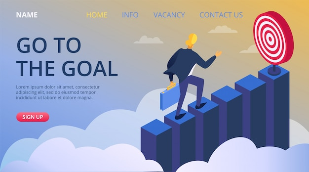 Business success goal achievement, leadership people progress concept  illustration. marketing career target, businessman challenge climbing. employee manager development for aim.