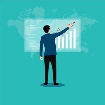 비즈니스 성공 목표. 비즈니스 성장 성공 프로세스 개념에 대한 경력 경로. 사업가 화면을보고 서. 프리미엄 벡터