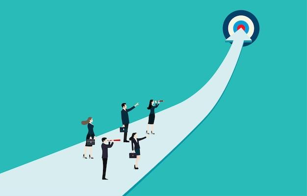 ビジネスの成功目標。ビジネスの成長の成功プロセスの概念のためのキャリアパス。