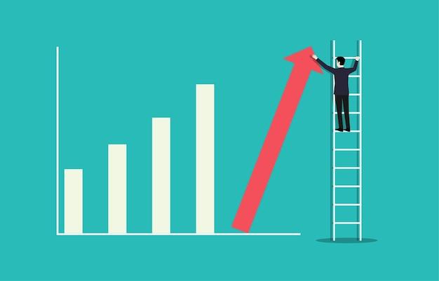 비즈니스 성공 목표. 비즈니스 성장 성공 프로세스 개념에 대한 사다리 경력 경로.
