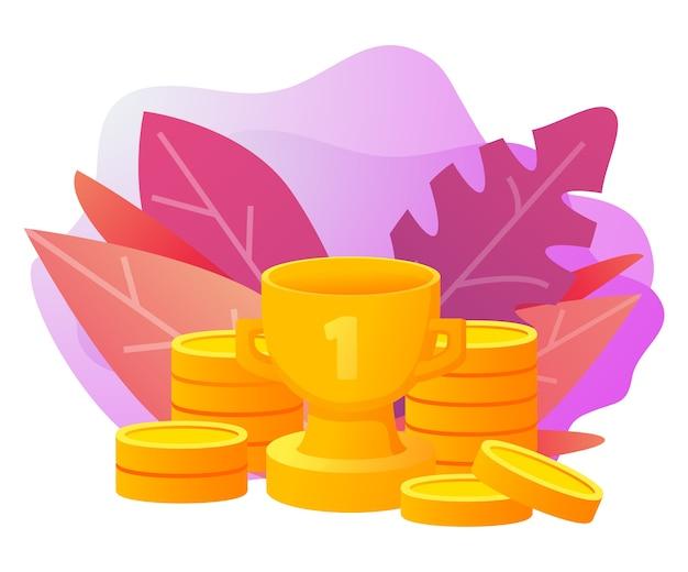 Успех в бизнесе. золотой кубок обладателя трофея деньги золотые монеты. концепция достижения.