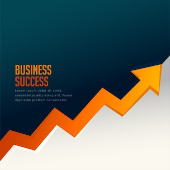 Business success growth arrow with upward arrow