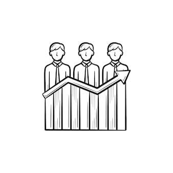 ビジネスの成功手描きのアウトライン落書きベクトルアイコン。白い背景で隔離の印刷物、ウェブ、モバイル、インフォグラフィックのビジネス利益の概念をスケッチします。