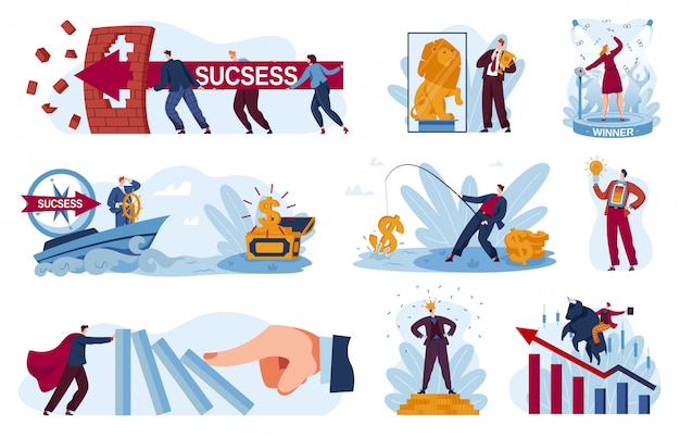 Business success  illustrations, cartoon  businessman winner holding winning trophy golden cup, eading people to successful goal