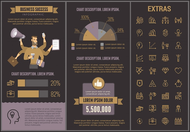 Business success infographic template and elements