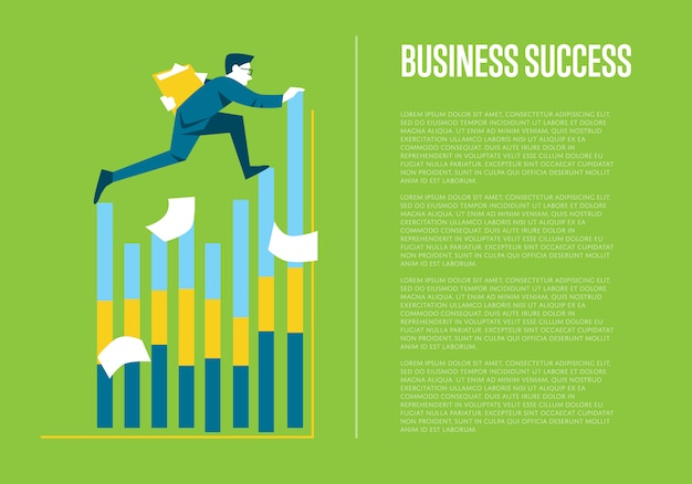 Business success informative poster with businessman