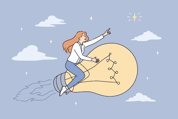 ビジネスの成功、革新、挑戦のコンセプト。自信を持って若い自信を持ってビジネス女性が自信を持ってベクトル図を感じて明るい巨大な電球を前に飛んでいます