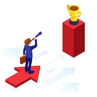 ビジネスの成功。等尺性のビジネスマンは矢印の上に立って、新しい機会をスパイグラスを通して見ます。スタートアップ、目標の概念。ビジョン、計画、将来のトレンド、ビジネスの新たな地平