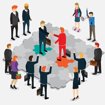 Business success jigsaw puzzle isometric