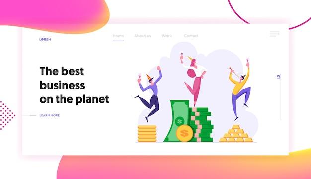 Business success landing page concept landing page set