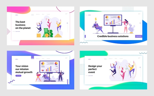 Business success landing page concept man and woman celebrating victory
