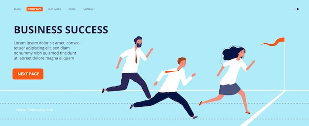 Business success landing page. office workers run to finish line.
