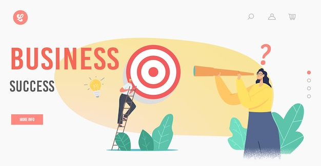 Business success landing page template. business character climb ladder overcome obstacles making next step to reach target. goals achievement, challenge strategy. cartoon people vector illustration