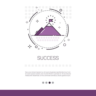 Business success leadership mountain top banner