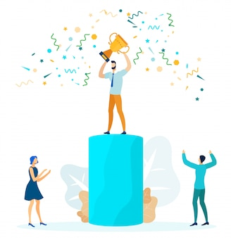 Business success, leadership vector illustration
