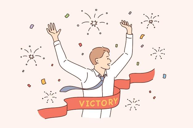 목표 개념에 도달하는 비즈니스 성공 리더십 우승자
