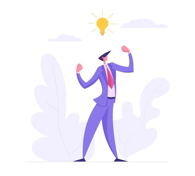 창의적인 사업가 일러스트와 함께 상자 생각 개념에서 비즈니스 성공