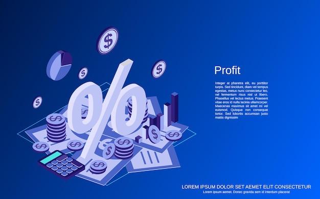 Business success, profit flat isometric   concept illustration