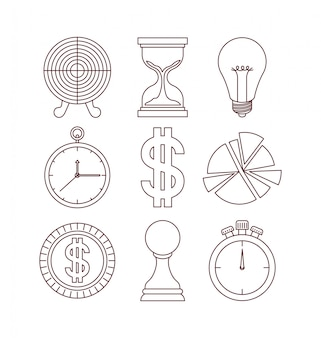 Business success set icons