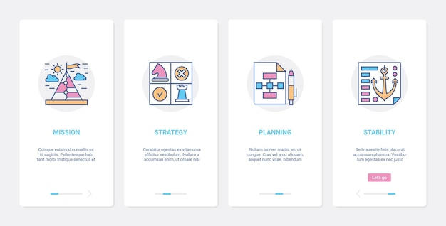비즈니스 성공 전략 라인 개념 ux, ui 온 보딩 모바일 앱 페이지 화면 세트