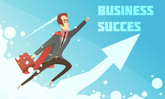 Business success symbolic cartoon growth poster with smiling businessmen climbing up increasing graphic arrow background